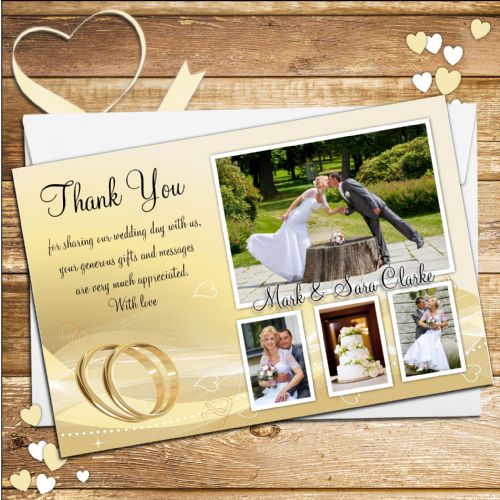 10 Personalised Gold rings Wedding Day Thank you Photo Cards N189